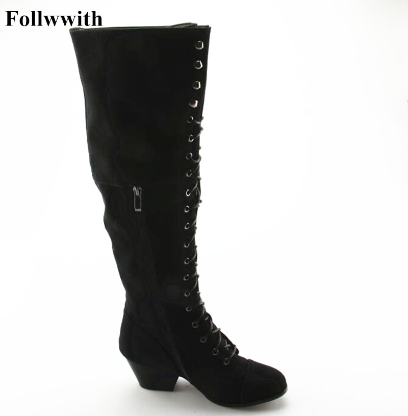 Faux Suede Slim Boots Sexy Over the Knee High Women 2017 New Fashion Winter Thigh High Boots Shoes Woman Side Zipper Snow Boots 2017 sexy thick bottom women s over the knee snow boots leather fashion ladies winter flats shoes woman thigh high long boots