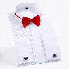 New 2017 Men Shirt Brand Fashion Tuxedo Men Wedding Shirts Top Quality Long Sleeve White Cotton Party Dress Shirt with cufflinks