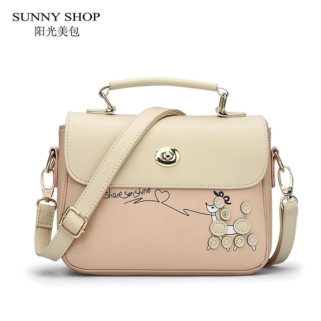SUNNY SHOP Korean leather bags handbags women famous brands shoulder crossbody bag luxury party designer women messenger bags