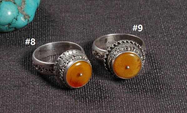 #8 #9 Handmade เนปาล 925 แหวนเงินทิเบตเงินแท้ 925 แหวนเงิน Mila โบฮีเมียแหวน