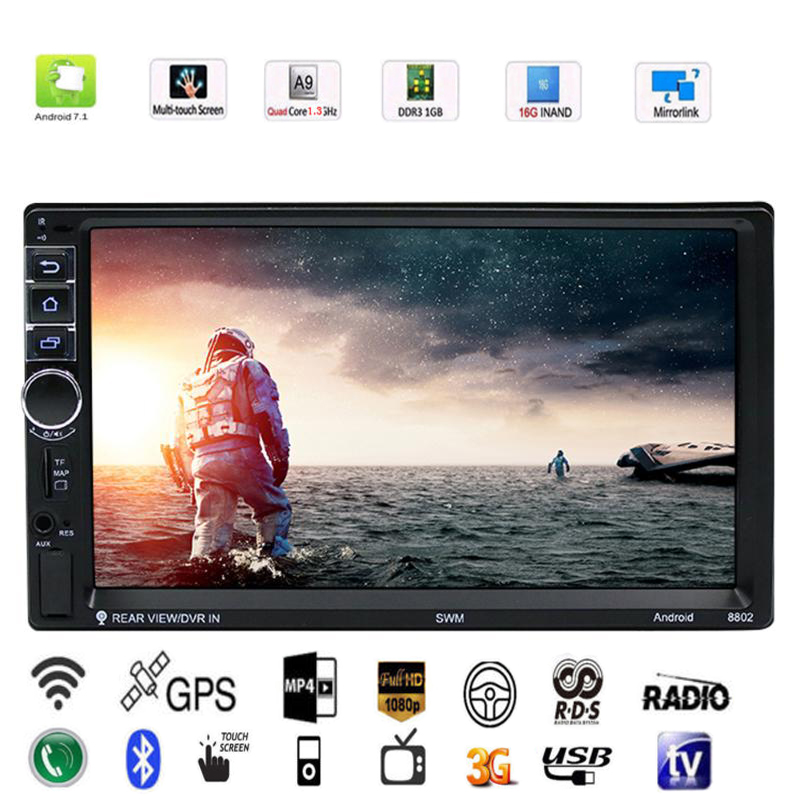 Vodool 7in 2 DIN Touch Screen Car Multimedia Player Android 7.1 Bluetooth Car GPS Navigator With Camera 1G/16G Auto MP5 Player 2 din car radio mp5 player universal 7 inch hd bt usb tf fm aux input multimedia radio entertainment with rear view camera