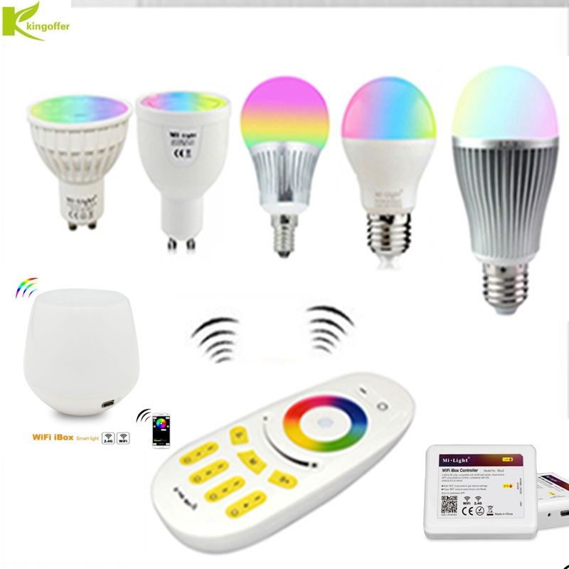 Milight 2.4G Remote Control Led Bulb MR16 GU10 E14 E27 Smart Wireless Lamp 4W 5W 6W 9W 12W RGBW/RGBWW/RGBCCT WIFI APP Controller цена