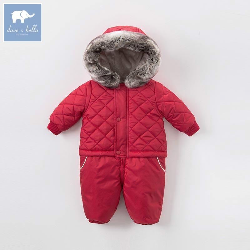 DB5415 dave bella winter new born unisex boys girls fashion red romper children cute romper baby 1 piece