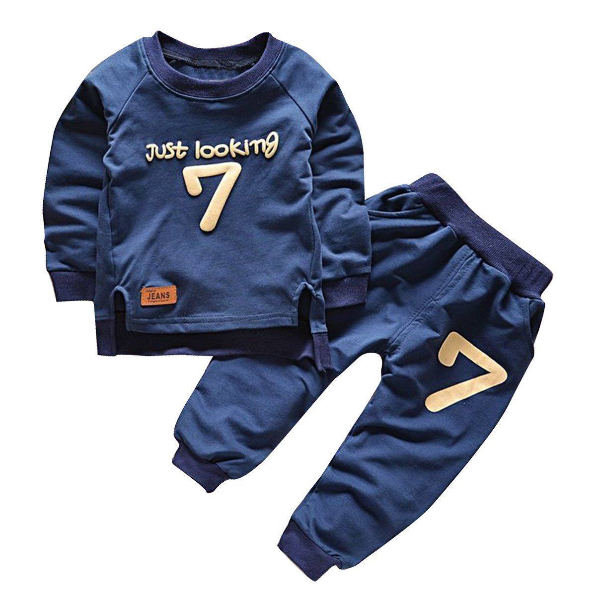2pcs Baby Boy Clothes Set Long Sleeve Sweatshirts number 7 Tops Toddler Kids O neck Hoodies Long Pants casual Suit Outfits