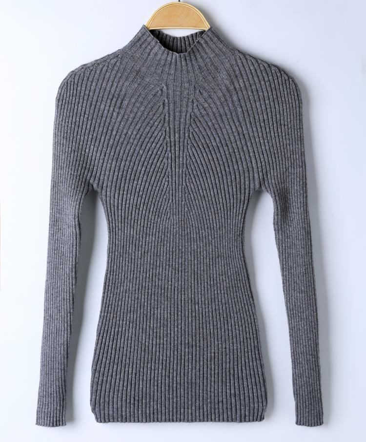 New 17 Spring Fashion Women sweater high elastic Solid Turtleneck sweater women slim sexy tight Bottoming Knitted Pullovers 30