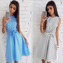 2019 summer new women's fashion polka dot print sleeveless round neck tie waist dress dress polka dot self tie wrap dress