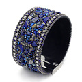 2016 New Arrivals Women Wide Leather Bangle Mosaic Crystal Blue Stone with High Quality Magnet Clasp Bracelets for Girl NO309