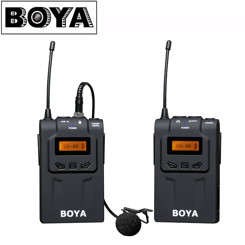 BOYA BY-WM6 UHF Wireless Microphone System Omni-directional Lavalier Microphone for EFP DV DSLR boya by wm6 ultra high frequency uhf wireless lavalier microphone system for canon nikon sony dslr camera audio recorder
