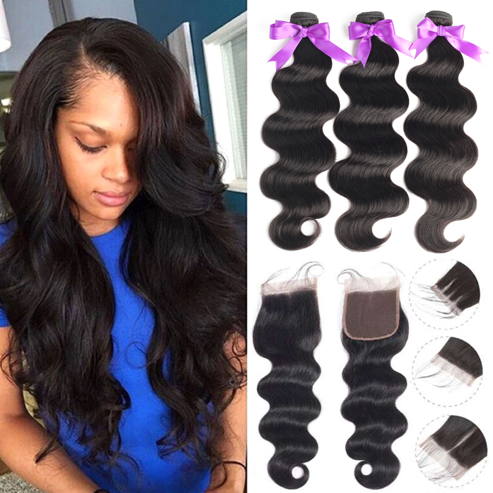 Beaudiva Brazilian Body Wave Human Hair Extensions Human Hair Bundles With Closure Brazilian Hair Weave Bundles With Closure