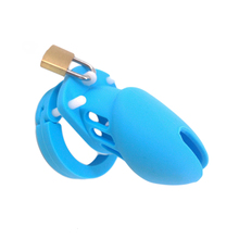 Medical silicone cock cage male chastity belt penis cage with 5 penis ring chastity device small cage sex products sex toys blue