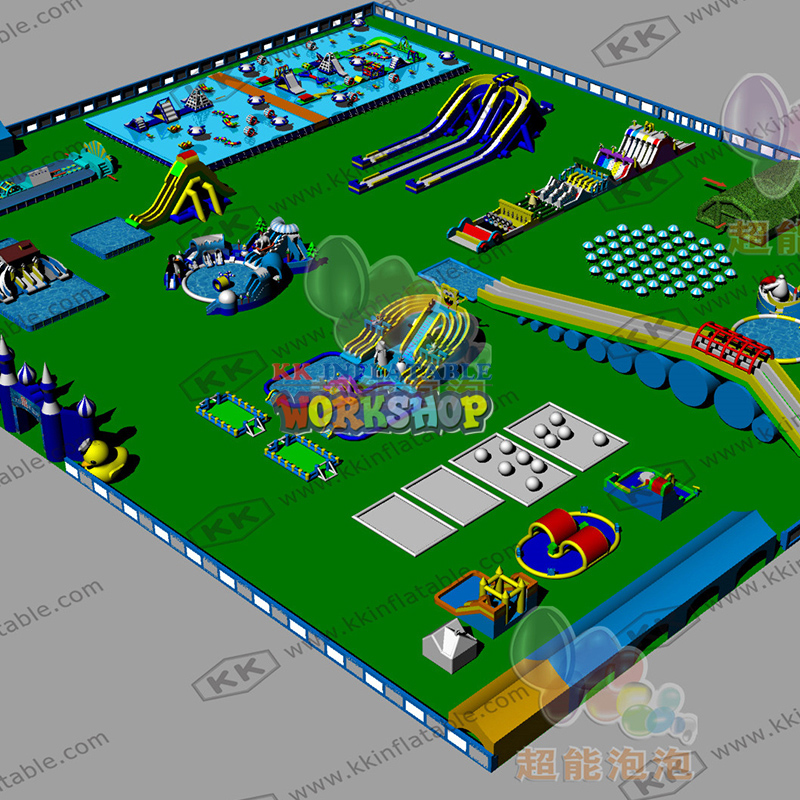 Custom Attractive Inflatable Commercial Popular PVC Tarpaulin Inflatable Water Slide Park With Bracket Pool
