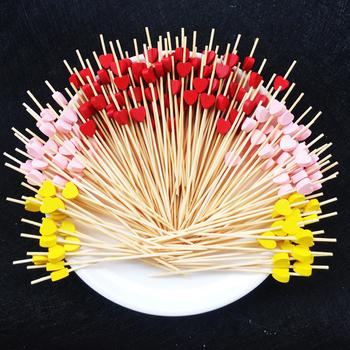 100pc12cm serce z kwiatkiem Bamboo Pick bufet babeczki owoce widelec na przyjęcie deser sałatka kij koktajl szpikulec na wesele wystrój tanie i dobre opinie Youtrend Widły YT0221 Zaopatrzony Ekologiczne Ce ue