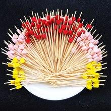 Pichet en bambou en forme de cœur, 100 pièces, 12cm, pour Buffet, Cupcake, fourchette à fruits, fête, Dessert, bâton à salade, broche à Cocktail pour décoration de mariage