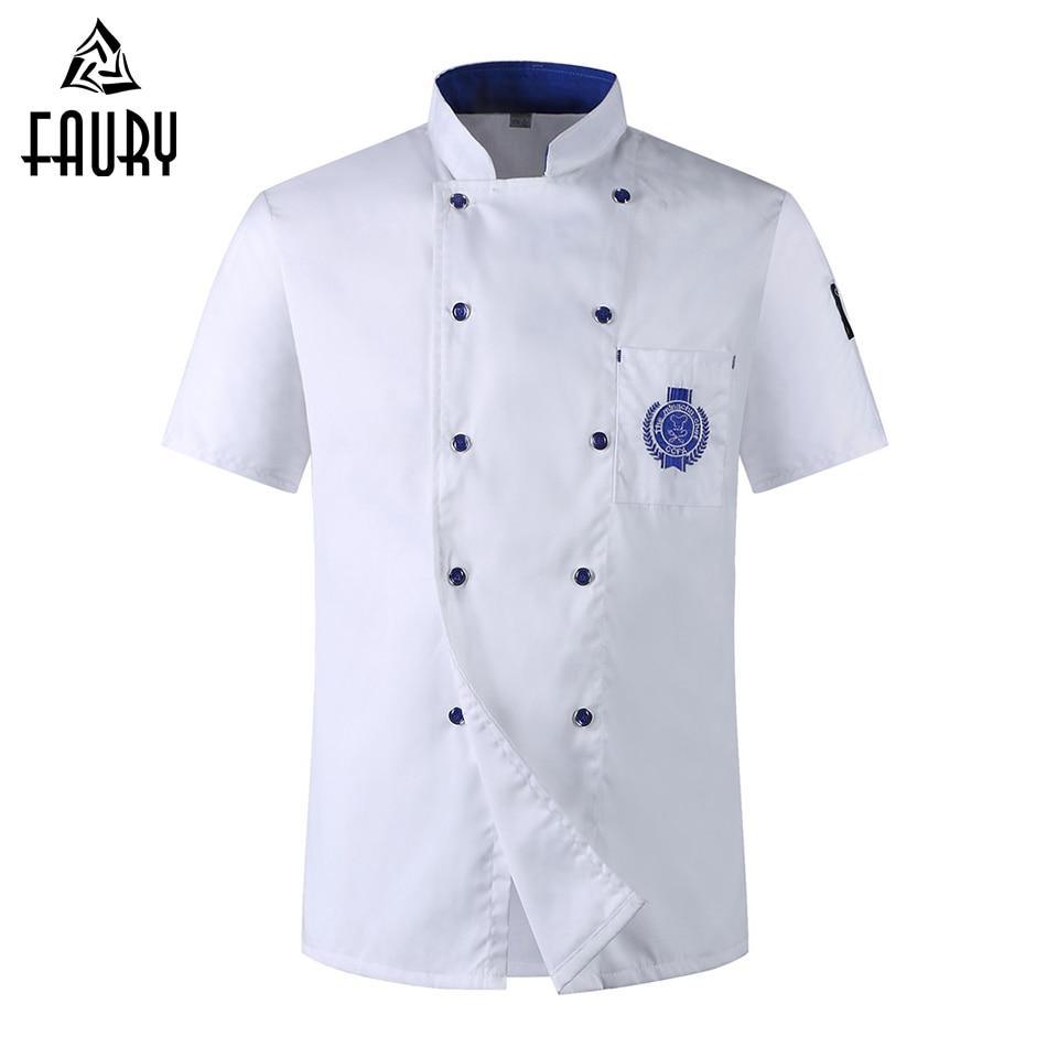 Unisex Double-breasted Embroidery Badge Restaurant Kitchen Baking Chef Waiter Work Wear Uniform Short-sleeved Chef Jacket Aprons