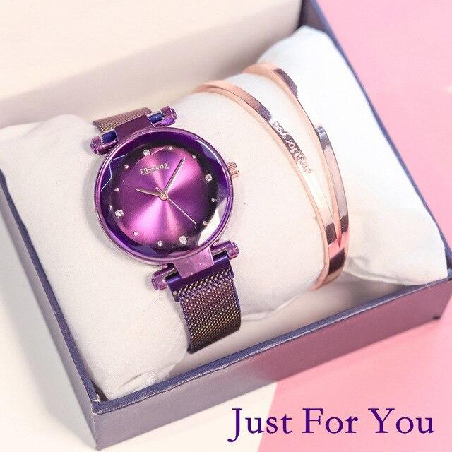 2019 Magnet Magnetic Force Unique Creative Band Women Luxury Quartz Watches Ladies Dress Wristwatches Watch NO Box&Bracelet