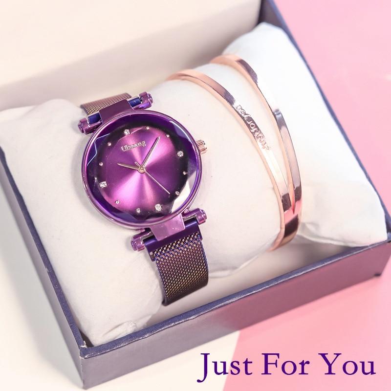 Exquisite Magnet Magnetic Force Unique Creative Band Women Luxury Quartz Watches Ladies Dress Wristwatches Watch NO Box&Bracelet