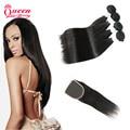 7a Peruvian Virgin Hair with Closure 4 Bundles with Closure Human Hair with Closure Peruvian Virgin Hair Straight with Closure