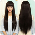 70CM Sexy Lady Long Straight Women Wig Black Cosplay Synthetic Fast Shipping Cute Fringe U Part