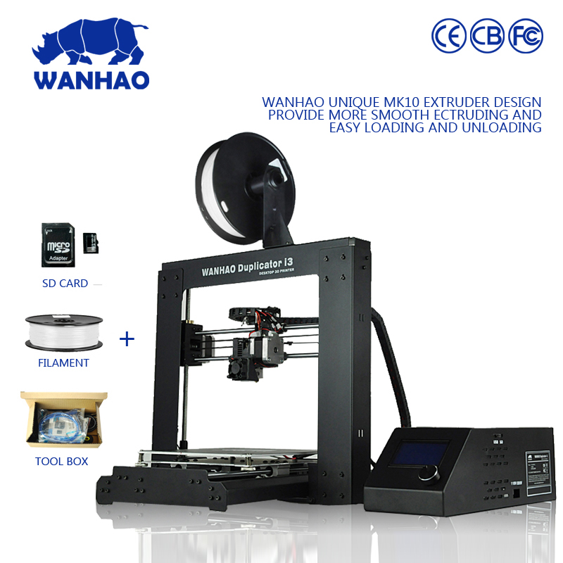 2018 new arrival high precision desktop WANHAO 3D printer in new version motherboard with single extruder I3 V2.1 model
