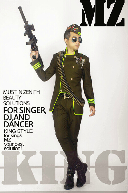 Men singer DJ Men brand fashion stage dark green military jacket uniforms party costumes clothing