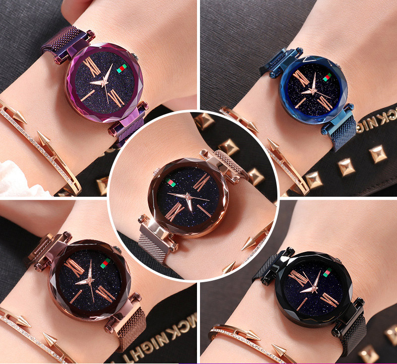 Charming Purple Women Watches Minimalism Casual Starry Sky Lady Wristwatch Magnet buckle Fashion Luxury Brand Female Watch Gift 2