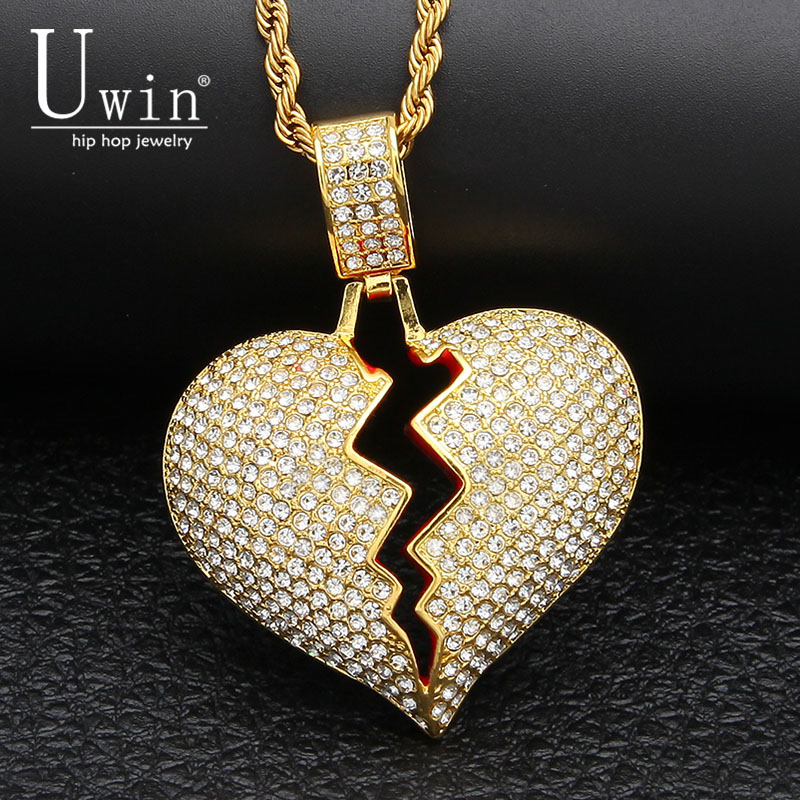 UWIN Broke Heart Pendant Rhinestone Full Bling Iced Out  Hip hop Necklace Tennis Chains Mens Hiphop Jewelry UWIN Broke Heart Pendant Rhinestone Full Bling Iced Out  Hip hop Necklace Tennis Chains Mens Hiphop Jewelry