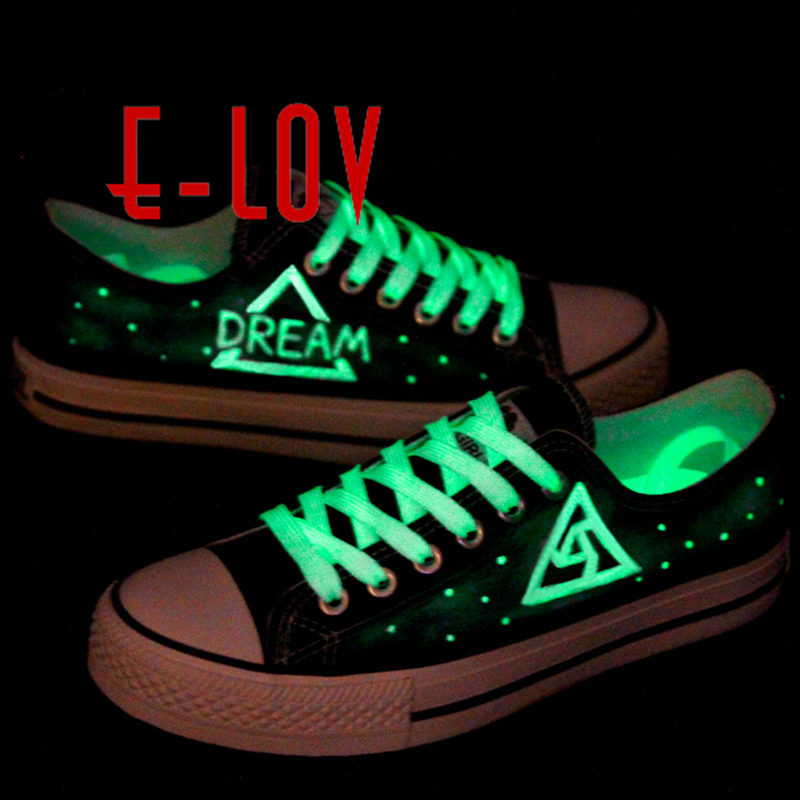 E-LOV Hand-Painted Luminous Shoes Constellation Galaxy Star Saittarius Shoes Noctilucence Personalized Casual Shoes Canvas Shoes e lov hand painted graffiti horoscope canvas shoes custom luminous graffiti gemini casual flat shoes women zapatillas mujer