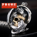 Skills and old silversmith man necklace s925 silver restoring ancient ways is Thai silver dragon plate skull pendant necklace