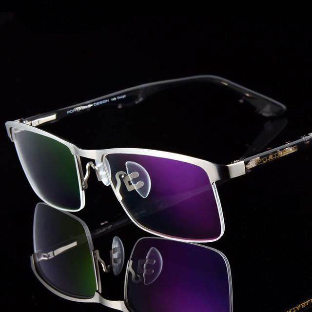Diseñador de Gafas de Metal Marco de la Miopía de Los Hombres Ultra-ligero de Media Marco Marco Óptico Comodidad Negocio Primavera piernas 6643 Receta