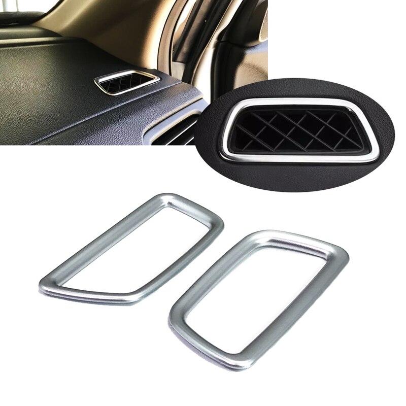 JEAZEA Car 2Pcs Interior ABS Matte Chrome Console Board AC Air Vent Outlet Cover Trims For Honda CRV CR-V 2012 2013 2014 2015 chrome side door body molding mouliding trims 6pcs for honda cr v crv 2012 2013