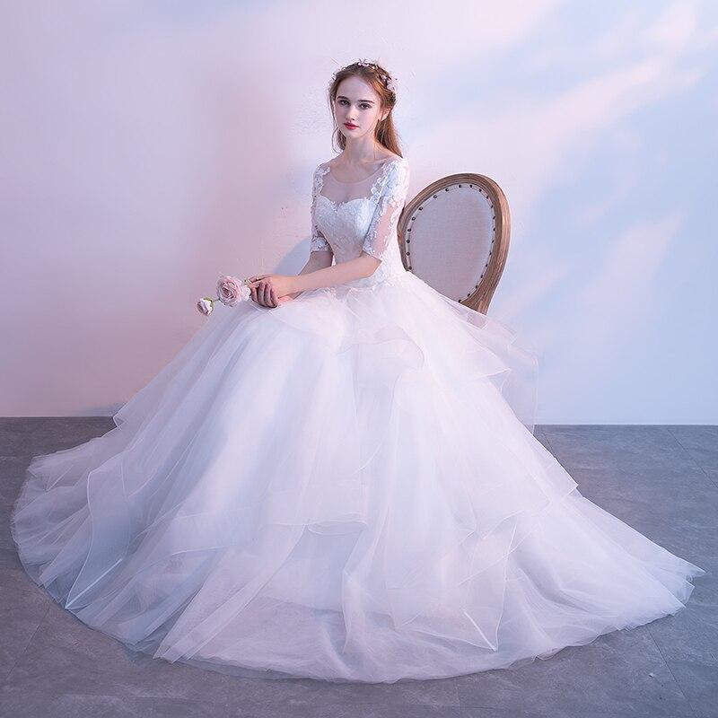 Weiße Scoop Bodenlangen Organza Vestido Elegante Llusion Up Novia Halbarm De Brautkleid Sheer Neck Ballkleid Weiß Spitze v5tzzx