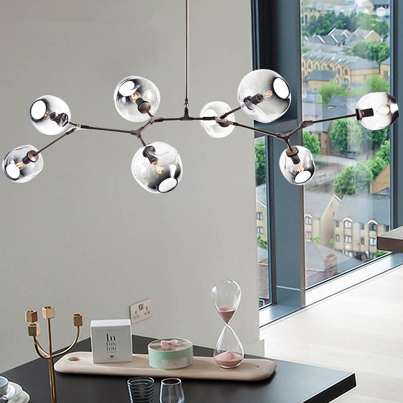 Glass Ball Branching Bubble Pendant Chandeliers For Dining Room
