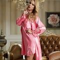 XIFENNI Brand Women Satin Silk Bathrobes Elegant Pink Two-Piece Robe Sets Embroidery Lace Sleepwear Faux Silk Nightgowns 8302