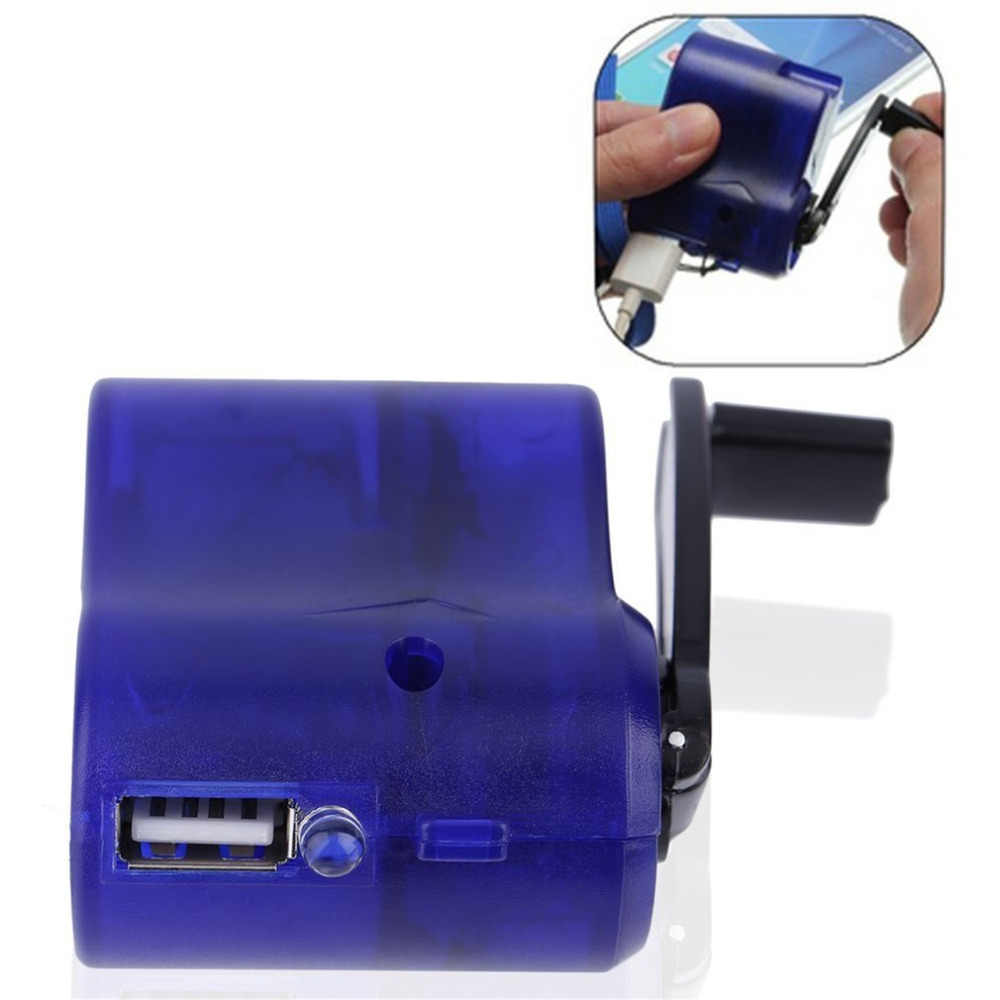 Blue USB Travel Emergency Phone Charger Dynamo Hand Manual Charger Plastic and Electronic Element Hot