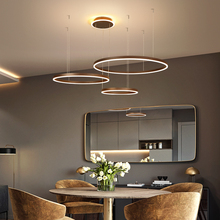 Diy creative rings modern led pendant lights for Living room dining room Brown/white aluminum Pendant lamp suspension luminaire modern brief creative iron bulb shape led pendent lights hand made aluminum decor room lamp for dining room dy 1001a