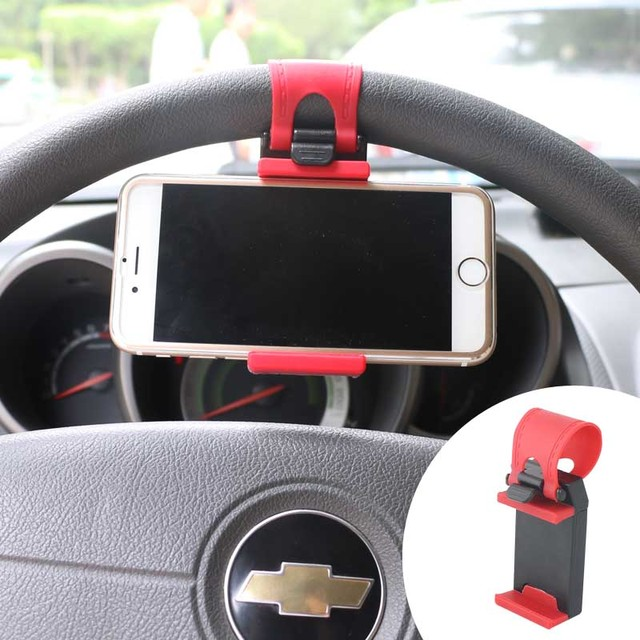 FFFAS Universal Stand Car Stying Steering Wheel Mobile Phone Holder Clip Clamp Tongs for apple iphone 5 5s 6 6s 7 8 Plus GPS MP4