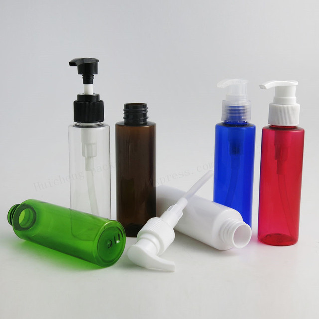 cf89342e3292 US $29.92 9% OFF|30 X 100ml DIY clear amber blue red green white pet  plastic dispensing lotion pump bottles 100CC PET Cosmetic Containers-in ...