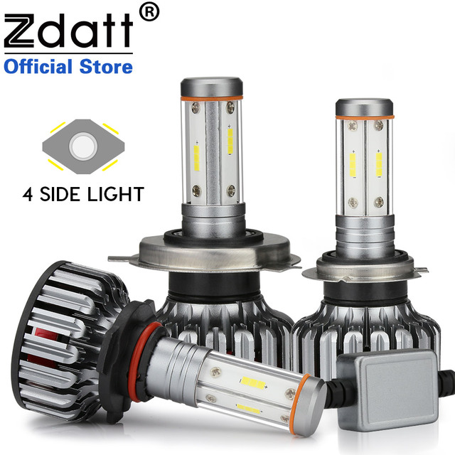 Zdatt 12V 4 Side Car Headlight Bulb H4 LED H7 H11 H8 100W 12000Lm Canbus Light 3000K 6000K 8000K 24V CSP Auto Lamp