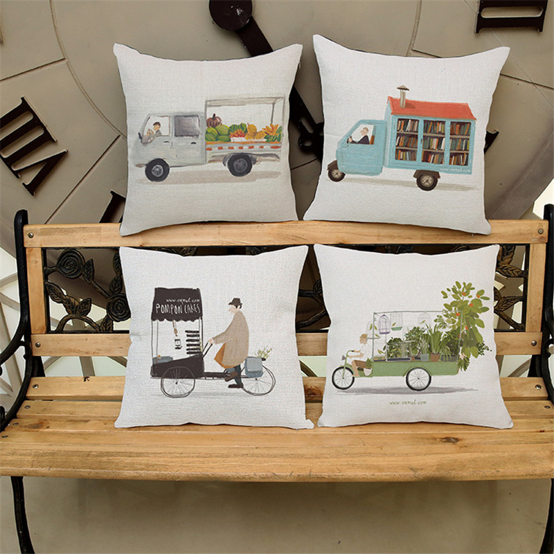 Cartoon car with book shop creative pattern PillowCase Cushion Cover chair office seat Home coffee shop Decoration children gift