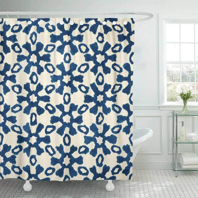 Shower Curtain With Hooks Native Batik Watercolor Artistic Blue And White Pattern Ethnic Boho Style Tribal Decorative Bathroom