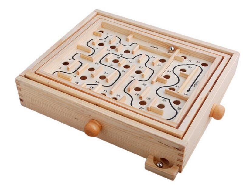 Labyrinth Wooden Pinball Toy Maze Game Children Gift