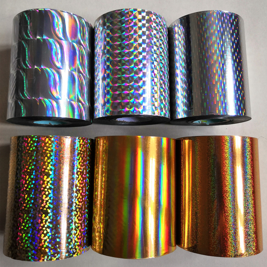 2 Rolls Holographic Foil Hot Stamping Foil Hot Press On Paper Or Plastic 8cm X120m Heat Stamping Film Good Quality Foil
