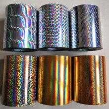 Film holographique destampage à chaud, 8cm x 120m, 2 rouleaux, à pression à chaud sur papier ou plastique