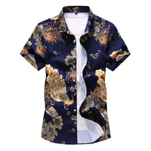 Chinese style printed short-sleeved slim lapels cotton shirt men/peacock flower pattern high quality male shirt Asian size M-7XL