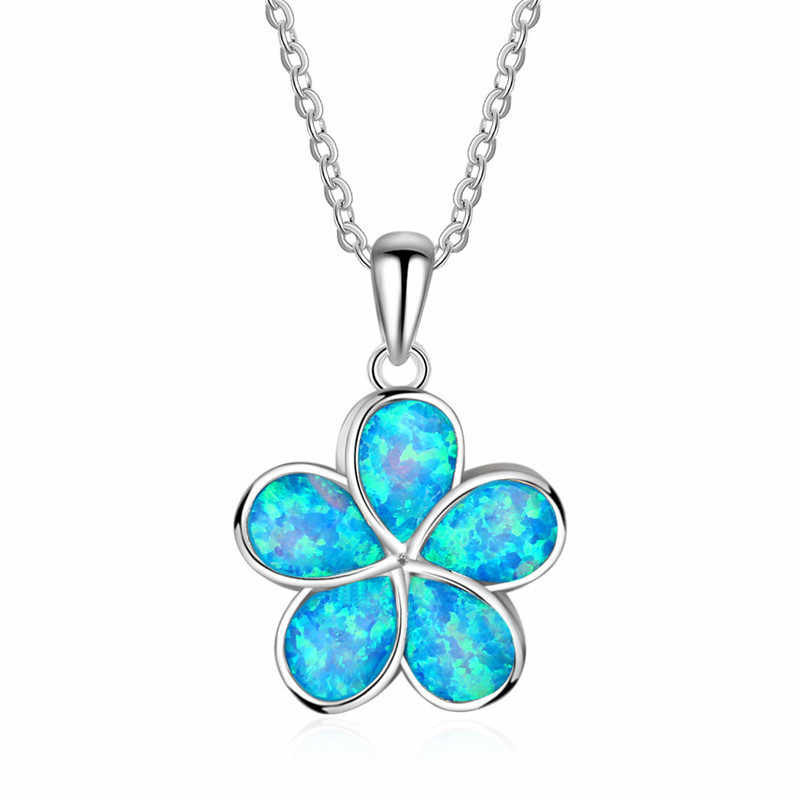 Marcatsa 925 Sterling silver Filled Classic Blue Fire Opal Clover Chokers Necklaces for Women Accessories Pendants Long Jewelry