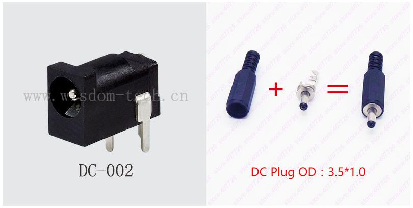 10PCS DC Power Jack Female Charging Socket and Male DC Plug 3.5 x pin1.0mm Charging DC Connector DIP DC-002