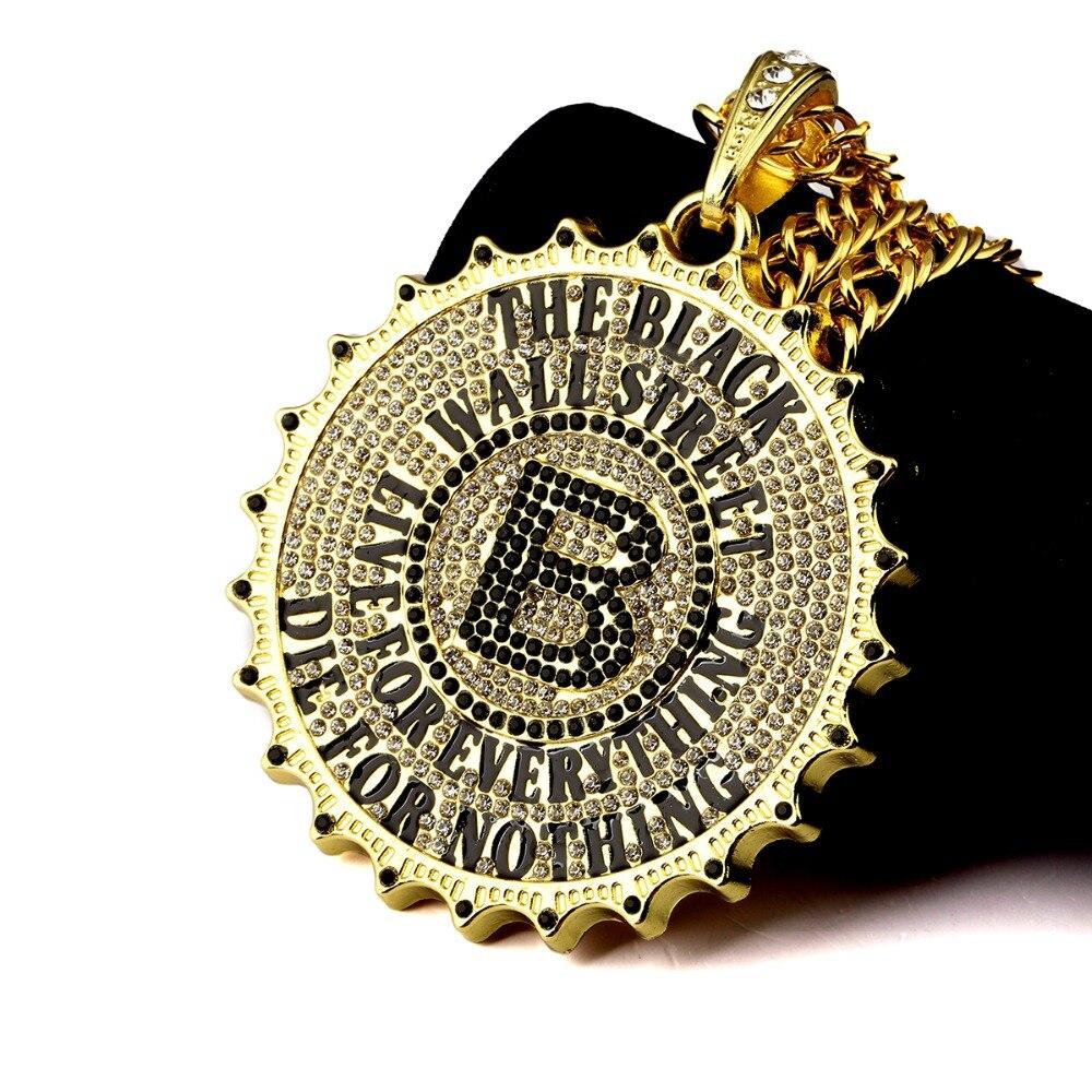 High Quality Big Pendant Hip Hop Chain B Letter Necklace Rock Black Wall  Street Brand