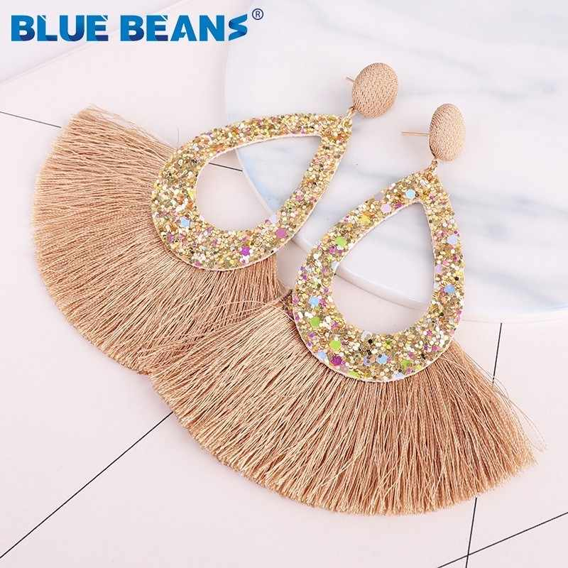 Tassel Earrings Shining Fashion For Women Boho Water Drop Earring Handmade Big Drop Dangle Round Jewelry Party gift statement