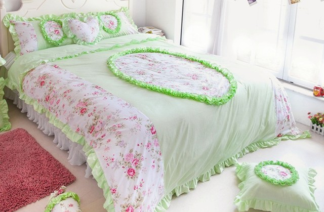 Noble Princess Lace Quilt Twill Active Printing Cotton Bed Sheets Romantic  Lace Series Fancy Bedding Sets