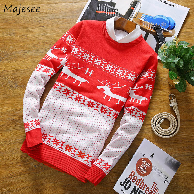 Sweaters Men Korean-Style O-Neck Knitting Printed High-Quality Warm Ulzzang Soft Tops
